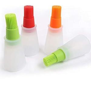 PUAO BBQ Backpinsel aus Silikon Öl Flasche 2in 1, einfach gereinigt Barbecue Flasche mit Pinsel, Hitzebeständig FDA Genehmigt Küche Zange, BPA-frei Silikon Backpinsel Küchenpinsel
