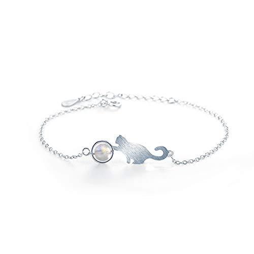 Pulsera WikiMiu para mujer de plata 925, diseño de gato y luna, joya de moda, regalo perfecto para mujeres para cumpleaños, día de San Valentín