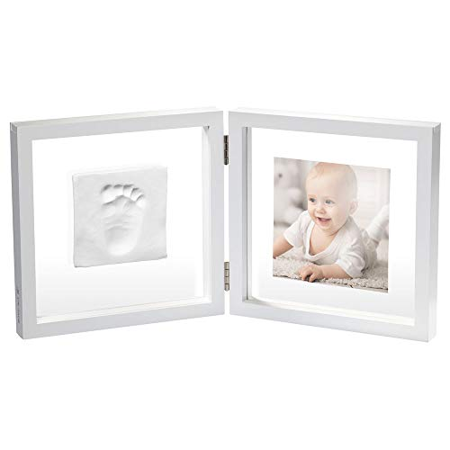 Baby art my baby style simple porta foto con kit impronta calco mano o piede del neonato, regalo nascita o bomboniera per battesimo, sfondo trasparente