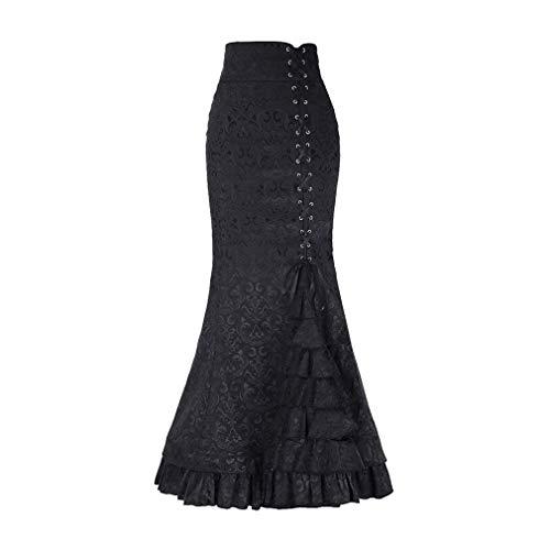 Huixin Señoras Estilo Gótico Steampunk Vendaje Faldas De Moda Slim Vintage Fit A Line Falda Plisada Retro Cake Falda Faldas Ocasionales Lápiz Faldas Clubwear (Color : Schwarz, Size : 2XL)