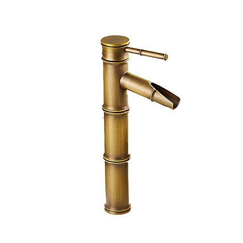 AYL Vintage Bronze Antique Plein Cuivre Bambou Mélangeur de Cuisine de Salle de Bain Hôtel Robinet Robinet de lavabo, Cuivre, 3 Joints Break Mouth