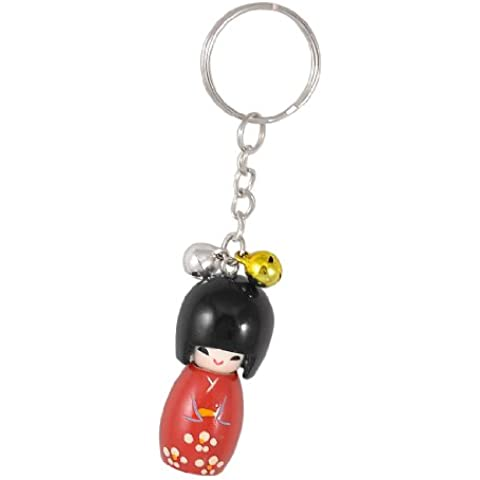 Llavero anillo cadena rojo negro muñeca japonesa de madera campanas colgante redondo