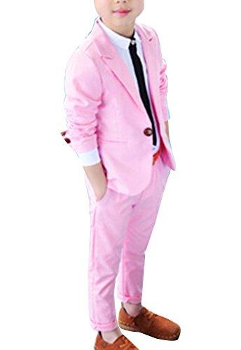 LaoZanA Boys Suits 2 Pieces Page Boy Suits Wedding Suit Party Prom Formal Suit Outfit Blazer + Trousers Pink