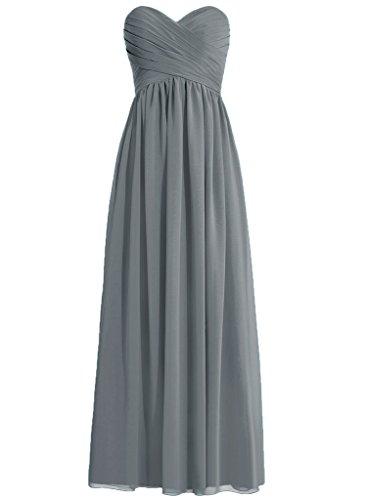 HWAN Frauen eine Linie Schatz Lange Kleid Brautjungfer Abendkleider Stahlgrau (Alex Abende Chiffon)