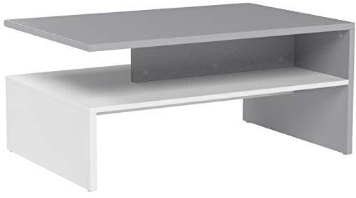 RICOO Couchtisch mit Stauraum WM080-W-PL TV Wohnzimmertisch Kaffeetisch Beistelltisch Wohnzimmer Couch Tisch Klein Viereckig Rechteckig Modern Design | Holz Hell Weiß & Platin Grau