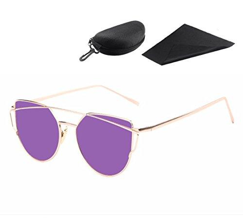 Katzenaugen Sonnenbrille Mit Tragbar Reise Zipper Brillenetui für Frauen, Pawaca Gespiegelte Flache Linsen Straße Moderne Art und Weisemetallrahmen Sonnenbrille UV400