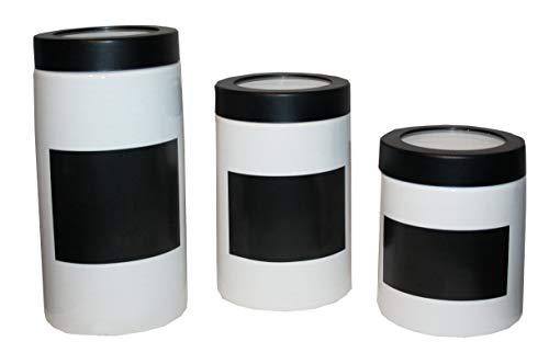 3er Set Keramik Vorratsdosen mit Tafel Kaffee Tee Zucker Dose weiß schwarz
