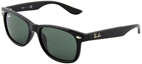 Ray-Ban Unisex Sonnenbrille New Wayfarer Junior, (Gestell: schwarz, Gläserfarbe: grün klassisch 100/71), Small (Herstellergröße: 47)