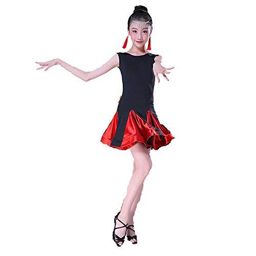 (Tanzkostüm - Latin Dance Kostüm Samtkostüm Split Match Tanzkostüm Performance Wettbewerb Tanzkostüm Girl Latin Wettbewerb Kostüm (Farbe : Red, größe : 170cm))