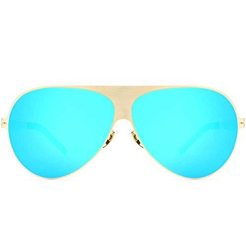 Sportbrillen Polarisierte Sonnenbrillen Herren und Damen Retro Style Designer Shadow UV400 Objektiv Unisex Laufen, Reiten, Angeln Sonnenbrillen (Farbe: Gold Frame Blau Stück, Größe: Frei)