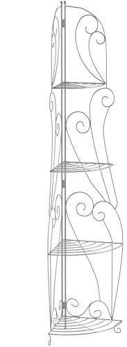 CLP Eisen-Eckregal IRMA I Stabiles Klappregal mit Vier Ablagen I Dekoregal im Landhausstil I erhältlich Antik Weiß