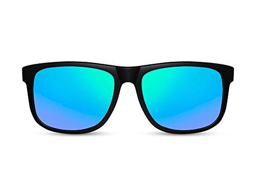 Cheapass Sonnenbrille Verspiegelt Schwarz Blau-Grün UV400 Nerd-Brille Sport Plastik Damen Herren