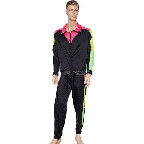 Anladia 70 80er Jahre Retro Trainingsanzug Asi Assi-Anzug Karneval Kostüm Fasching Verkleidung Jacke und Hose (Schwarz&Rosa&Gelb, Herren M)