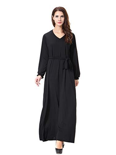 XDXART Frauen muslimischen Roben islamischen Abaya Maxi Kleid Langarm V-Ausschnitt Langen Mantel marokkanischen Kaftan Kaftan Kleid (Black, XL) (Marokkanischen Kaftan-kleider Für Frauen)