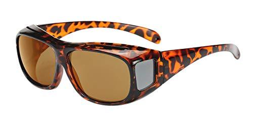 BOZEVON Herren und Damen Sonnenbrillen - UV400-Sonnenbrillen | Nachtsichtbrille Polarisierter Brille Fit-over für Brillenträger und Autofahrer, Braun Linsen - Sonnenbrille