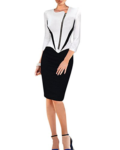 af1f4626cc2a Abendkleid Damen Knielang Etuikleid Business Kleid Elegantes Bleistiftkleid  Schwarz Weiß