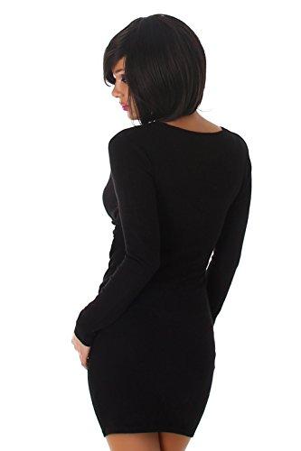 Enzoria - Robe - Moulante - Uni - Manches Longues - Femme Noir