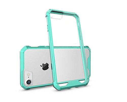 LEMORRY Apple iPhone 8 Plus Coque Etui, Ultra Mince Transparente Transparent Soft Caoutchouc TPU Silicone + Hard PC Supreme Protecteur [Absorption des chocs] Rear Bumper Etui Housse Cover pour Apple i Vert