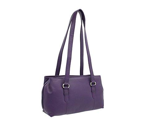 Mala en cuir LUCY Collection Triple Zip Sac bandoulière en cuir noir 734_30 violet