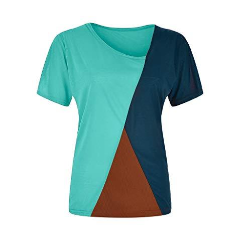 Zegeey Damen Oberteil T-Shirt Kurzarm Rundhals Gestreift Streifen Patchwork Blusen Tops Shirts LäSsige(A5-Grün,EU-34/CN-S)