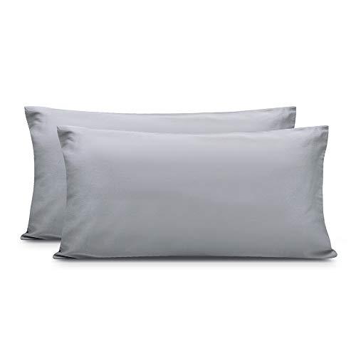 Zenssia langstapelige Baumwolle Kissenbezug Kissenbezüge hochwertige Kissenhüllen 2er-Pack mit Reißverschluss, Grau, 40x80cm -