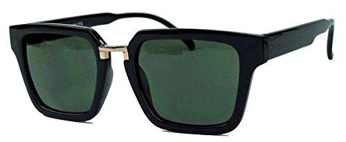 (60er Jahre Styler : Herren Retro Sonnenbrille trapezförmig Flat Top Rahmen TR30 (Schwarz / G15))
