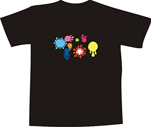 T-Shirt E160 Schönes T-Shirt mit farbigem Brustaufdruck - Logo / Grafik - minimalistisches Motiv - bunte Farbkleckse Mehrfarbig