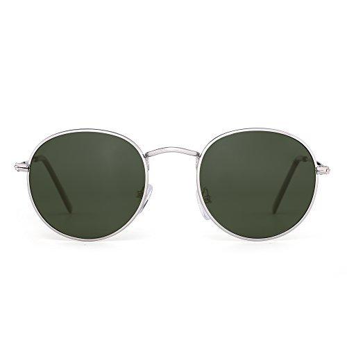 JIMHALO Polarisiert Klein Rund Sonnenbrille Retro Spiegel Kreis Linse Metall Rahmen Damen Herren(Silber/Polarisiertes Grün)