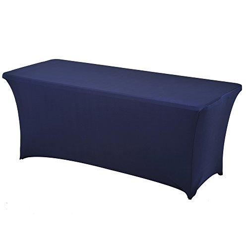 Spandex Stretch Lycra table de couverture de tissu 6 ft pied rectangulaire table à chevalets banquet de mariage(Bleu Marine)
