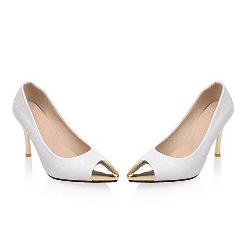 AllhqFashion Femme Matière Mélangee Tire Pointu Stylet Couleur Unie Chaussures Légeres Blanc