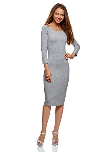 oodji Ultra Damen Enges Kleid mit U-Boot-Ausschnitt, Grau, DE 32/EU 34/XXS