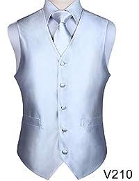 Hombre Chalecos Conjunto de Bolsillo Cuadrado Conjunto de Corbata de Boda  clásico sólido de los Hombres 234a6315aa6