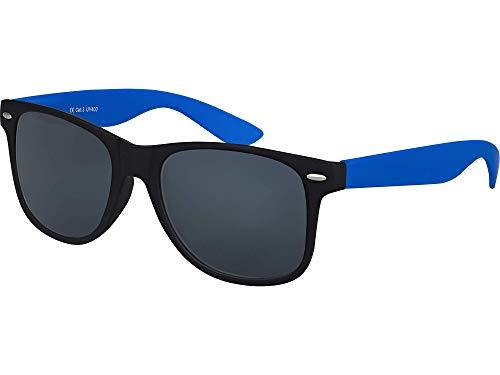 Balinco Hochwertige Nerd Sonnenbrille Rubber im Wayfarer Stil Retro Vintage Unisex Brille mit Federscharnier - 96 verschiedene Farben/Modelle wählbar (Blau/Schwarz - Smoke)