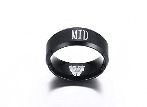 Vnox Edelstahl League of Legends LOL 'MID' Gravur Fingerringe für Männer Frauen Unisex League Fan Playmate Geschenk,schwarz