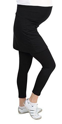 Be! Mama Umstandsleggings mit Rock, hochwertige Baumwolle, Modell PENTI - 3/4 oder lang, Umstandsrock Schwarz - Lang
