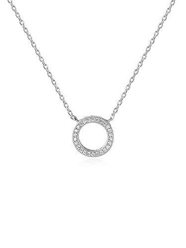 CLOUD-FASHION 925 Sterling Silberkette Rund mit Zirkonia Diamanten Halskette mit 45cm sterling Silber kette Schmuck