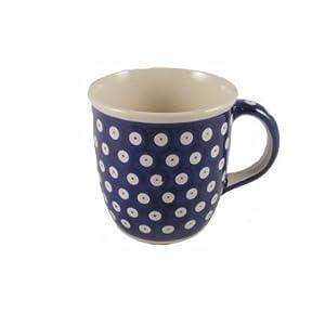 Polish Pottery Boleslawiec Mug, Curvy, 0.35L in TADPOLE pattern