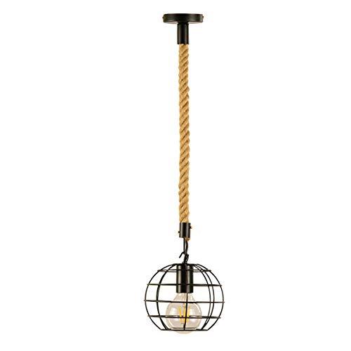 1-Light Industrial Mini iluminación Pendiente del Hierro del Metal de la Jaula Cuerda del cáñamo de Techo Accesorio Ligero para la Isla de Cocina Comedor Mesa de Granja, de 7 Pulgadas