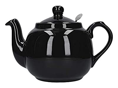 London Pottery Théière en Vrac avec infuseur en céramique, Noir Brillant, 4 Tasses (1 Litre)