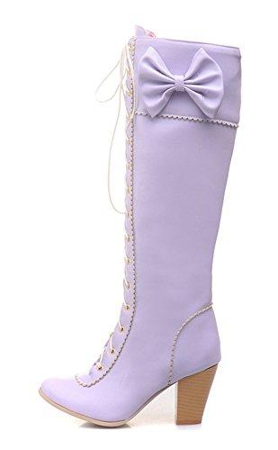 YE Damen Chunky High Heels Kniehohe Schnür Stiefel mit Blockabsatz und Schleife Reißverschlüsse Retro Süße Herbst Winter Schuhe Lila