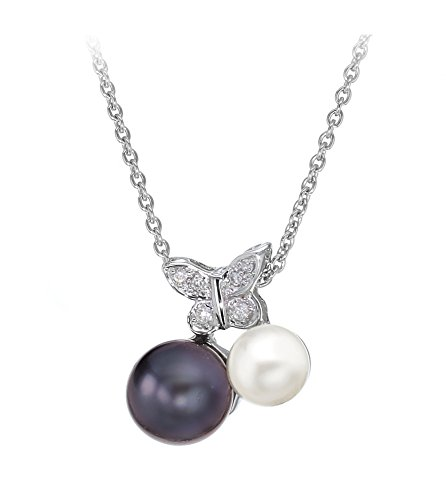 Carissima Gold 18 ct White Gold Diamond Black and White Pearl Butterfly Necklet of 46 cm/18 inch