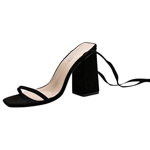 Siswong Femminile Sandali Estivi Donna Moda Sandals Casuale Sandalo Donna Eleganti con Scarpe da Spiaggia Sandali Donna Semplici Tracolle Spessi Sandali Stile Romano Selvaggio(Nera,36)