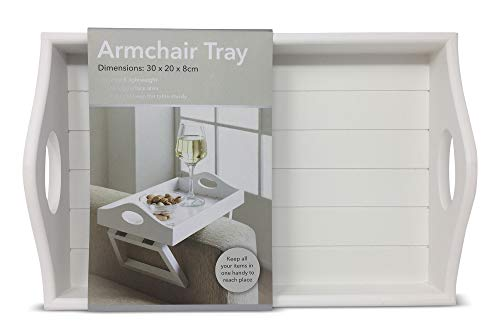 Media Tray (Retro Holz Sofa Sessel Tablett Media Organizer Snack Serviertablett Armlehne weiß)