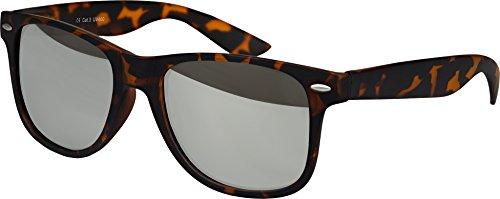 Hochwertige Nerd Sonnenbrille Rubber Retro Vintage Unisex Brille mit Federscharnier - 101 verschiedene Farben/Modelle wählbar (Leo - Silber verspiegelt)