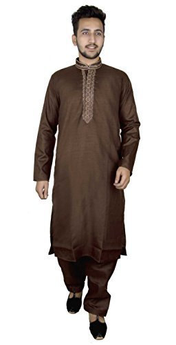 Herren sherwani Baumwolle Kurta mit Salwar Kameez für Bollywood Party Pyjama 819 - Braun, 38 (M - UK) (Baumwolle Braun Salwar)