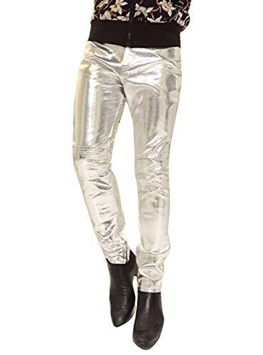 Anaisy Herren Hose Biker Bikerhose Soft Lederhosen Pu Slim Fit Leder Faux Leder Jungen Biker Motorrad Hosen Pants (Color : Silber, Size : S)