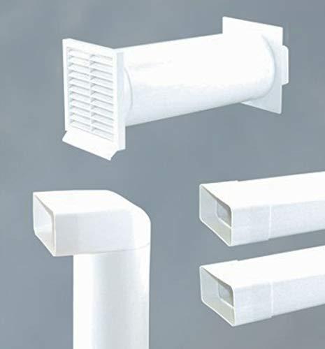 Abluftset 125mm Mauerkasten rund mit Rechteckanschluss und Rückstauklappe 2x Flachkanal 1m sowie Umlenkstück von flach auf rund Abluft Küche Dunstabzug -