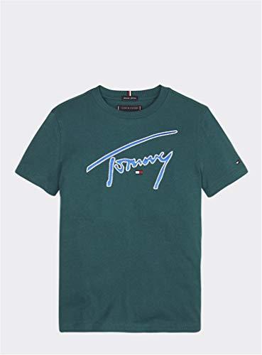 Tommy Hilfiger Jungen, Herren Shirt Tommy Signature S/S Petrol 14 (164)