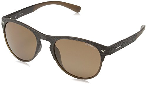 Police S1949 Game 1 Rund Sonnenbrille, SEMI MATT BROWN FRAME/BROWN LENS