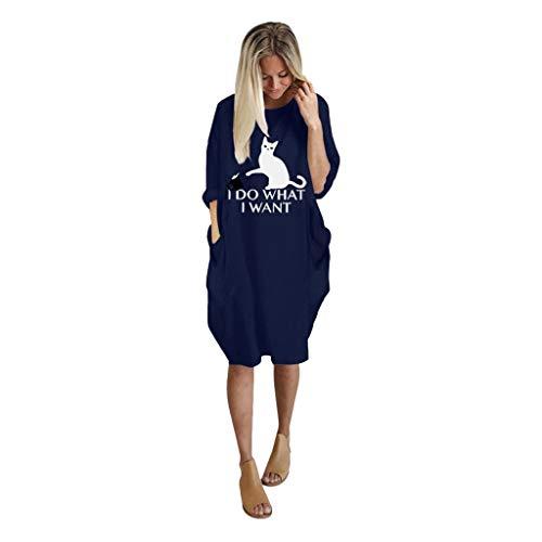 VEMOW Damenmode Tasche Lose Kleid Damen Rundhalsausschnitt beiläufige Tägliche Lange Tops Kleid Plus Größe(B-Blau, EU-52/CN-3XL)